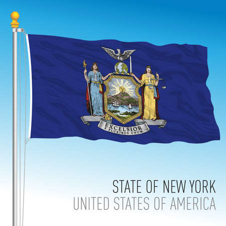 New York federal state flag, United States, vector illustration