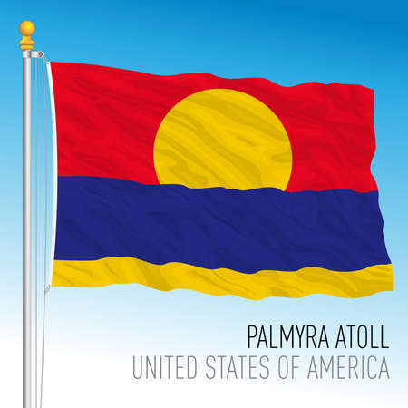 Palmyra atoll flag, United States, vector illustration Archivio Fotografico - 163043255