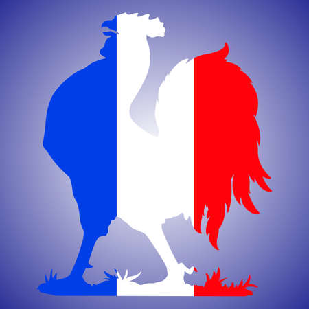 Rooster silhouette with french flag colors, France, national symbol, vector design