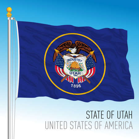 Utah federal state flag, United States, vector illustration Archivio Fotografico - 163200827