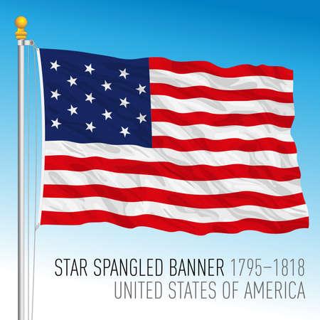 US historical flag, Star Spangled Banner, United States, 1795-1818, vector illustration Archivio Fotografico - 163200835