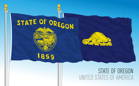 Oregon federal state flag, United States, front and back sides, vector illustration