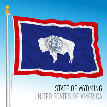 Wyoming federal state flag, United States, vector illustration Archivio Fotografico - 163261721