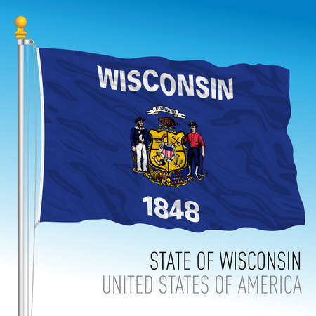 Wisconsin federal state flag, United States, vector illustration Vettoriali