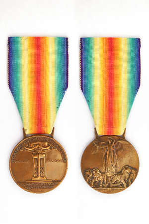 Inter-allied bronze medal of victory, version for Italy, 1920 Archivio Fotografico - 163707801