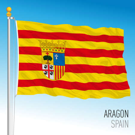 Aragon regional flag, autonomous community of Spain, European Union Archivio Fotografico - 164001144