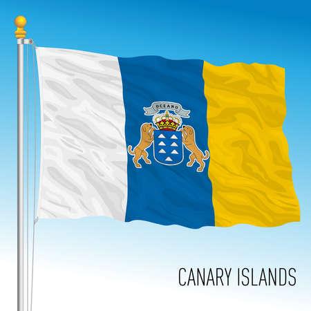 Canary Islands regional flag, autonomous community of Spain, European Union Vettoriali