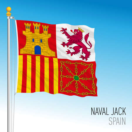Spain, bowsprit flag of the Spanish navy, vector illustration Archivio Fotografico - 164009245
