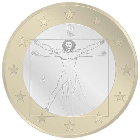 1 Euro coin italian pattern, vector illustration Archivio Fotografico - 164039036