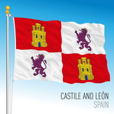 Castile and Leon regional flag, autonomous community of Spain, European Union
