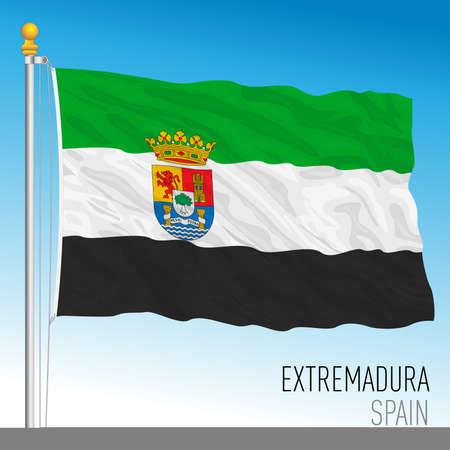 Extremadura regional flag, autonomous community of Spain, European Union Archivio Fotografico - 164161196