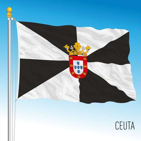 Ceuta regional flag, autonomous community of Spain, Africa Vettoriali