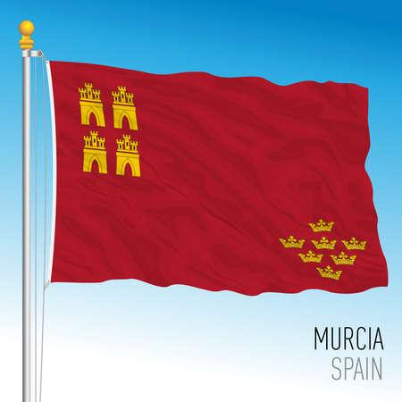 Murcia regional flag, autonomous community of Spain, European Union, vector illustration