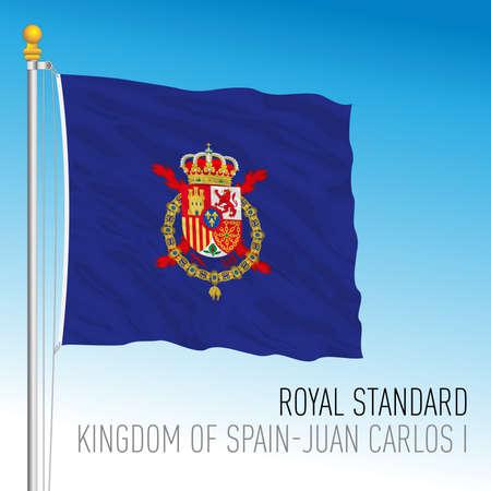 Royal Standard Juan Carlos I flag, Kingdom of Spain, vector illustration
