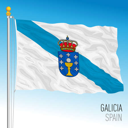Galicia regional flag, autonomous community of Spain, European Union, vector illustration