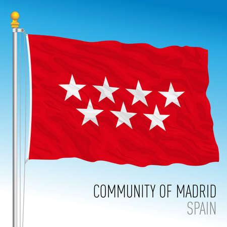 Community of Madrid regional flag, autonomous community of Spain, European Union, vector illustration Vettoriali