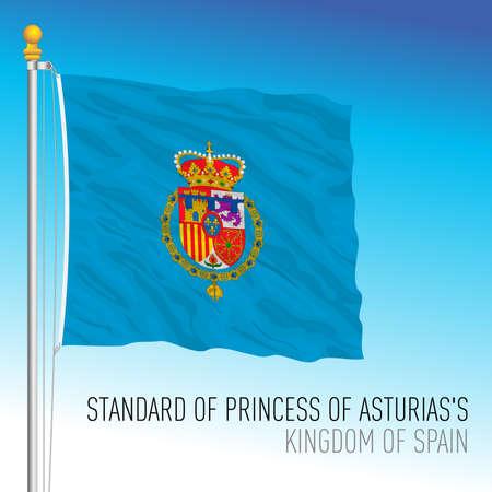 Princess of Asturias's flag, kingdom of Spain, European Union, vector illustration Vettoriali