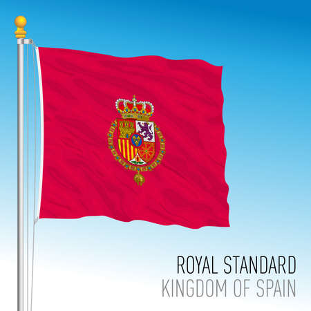 Royal Standard flag, kingdom of Spain, European Union, vector illustration