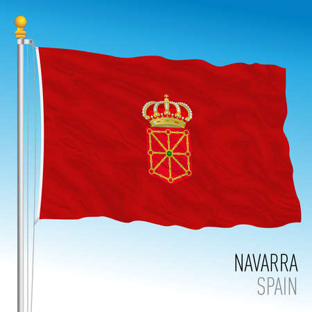 Navarra regional flag, autonomous community of Spain, European Union, vector illustration