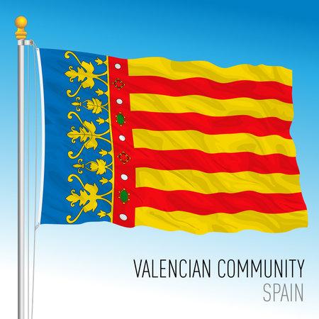 Valencian Community regional flag, autonomous community of Spain, European Union, vector illustration