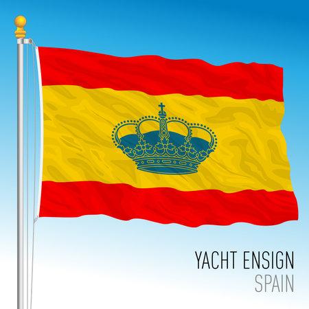 Yacht ensign flag, Kingdom of Spain navy, European Union, vector illustration