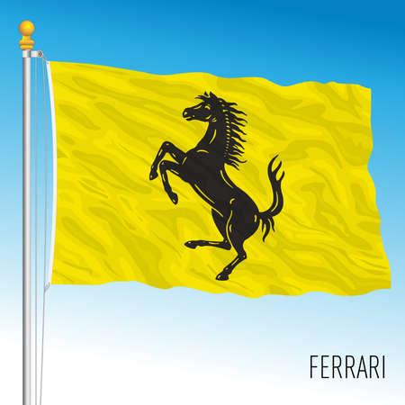 Maranello, Modena, Italy, February 2021 - Design flag of Ferrari cars and racecars, vector illustration