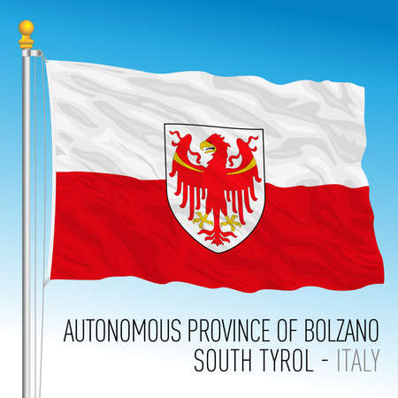 Autonomous Province of Bolzano - South Tyrol, flag of the province, Italian Republic, vector illustration