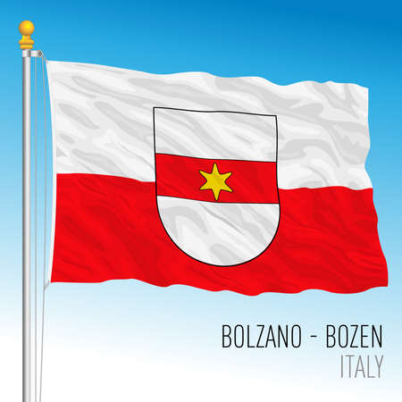 Bolzano, flag of the city, Italian Republic, vector illustration