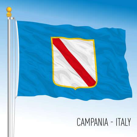 Campania, flag of the region, Italian Republic, vector illustration