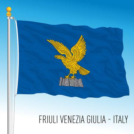 Friuli Venezia Giulia, flag of the region, Italian Republic, vector illustration