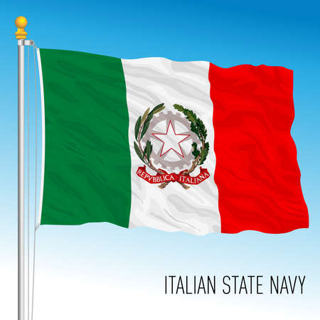 Naval State flag of the region, Republic of Italy, vector illustration Vettoriali