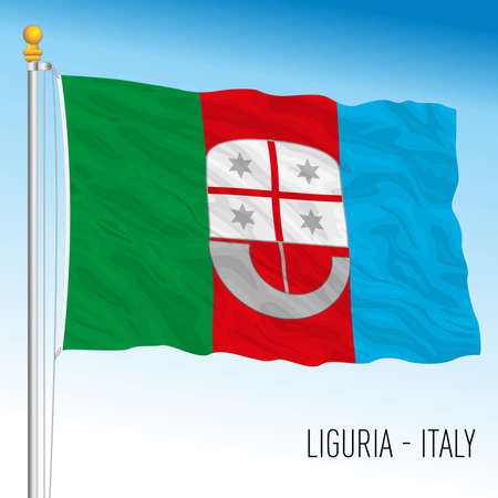 Liguria, flag of the region, Italian Republic, vector illustration Vettoriali