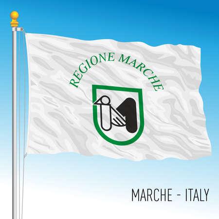 Marche, flag of the region, Italian Republic, vector illustration Vettoriali