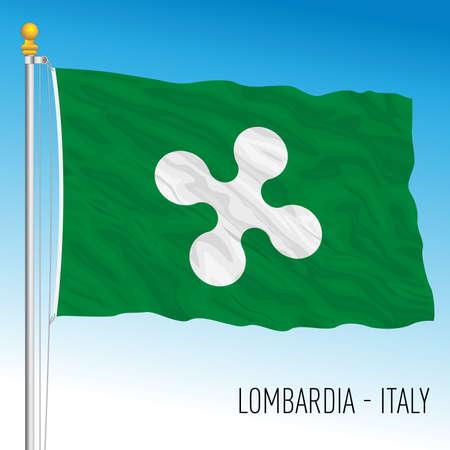 Lombardy, flag of the region, Italian Republic, vector illustration Vettoriali