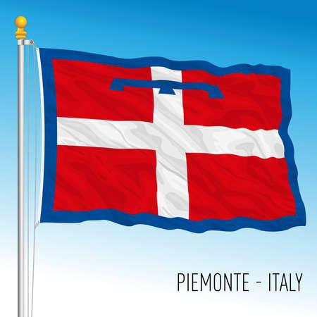 Piedmont, flag of the region, Italian Republic, vector illustration