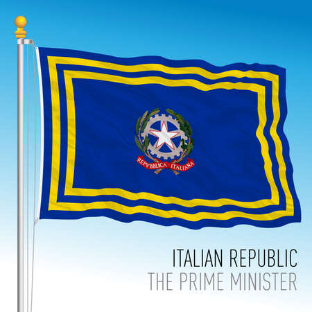 President of the Council of Ministers of the Italian Republic flag, Italian Republic, vector illustration