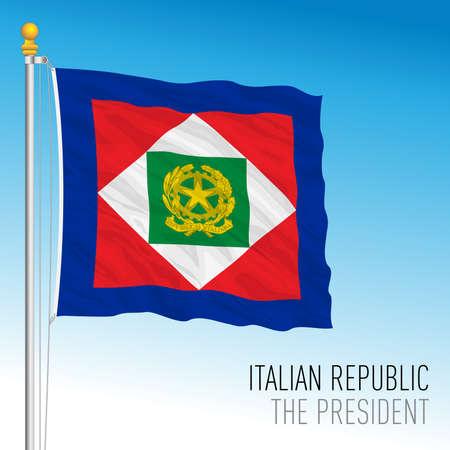 Standard of the President of the Italian Republic flag, Republic of Italy, vector illustration Vettoriali