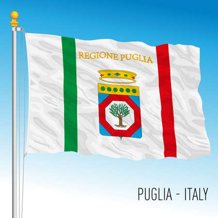 Puglia, flag of the region, Italian Republic, vector illustration Vettoriali