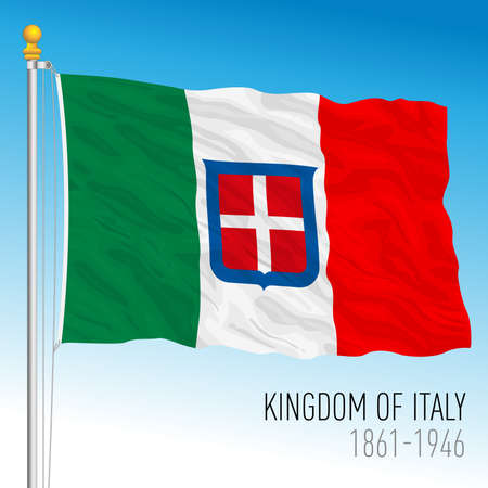 Historical flag of Kingdom of Italy, 1861 - 1946, vector illustration