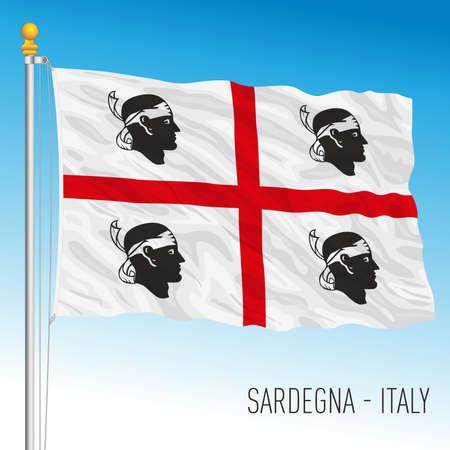 Sardinia, flag of the region, Italian Republic, vector illustration