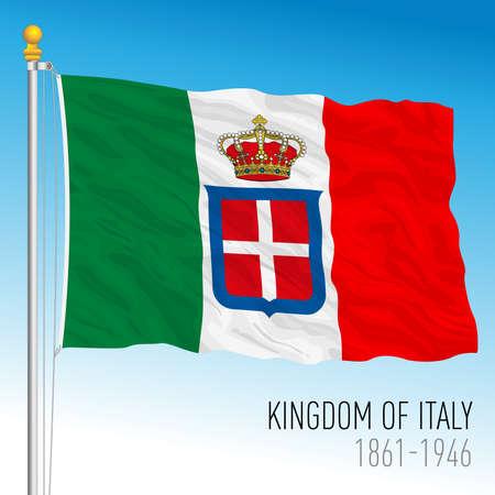 Historical navy flag of Kingdom of Italy, 1861 - 1946, vector illustration