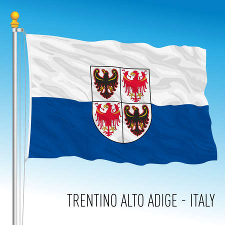 Trentino Alto-Adige, flag of the region, Italian Republic, vector illustration