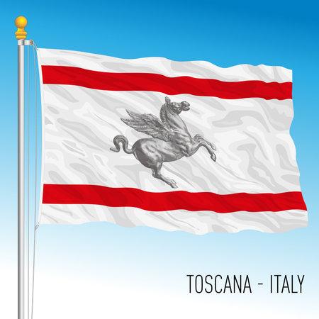 Tuscany, flag of the region, Italian Republic, vector illustration