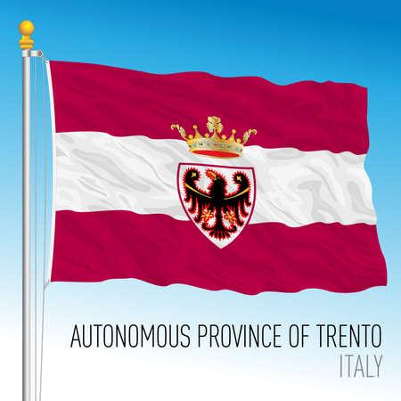 Autonomous Province of Trento, flag of the province, Italian Republic, vector illustration