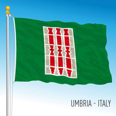 Umbria, flag of the region, Italian Republic, vector illustration