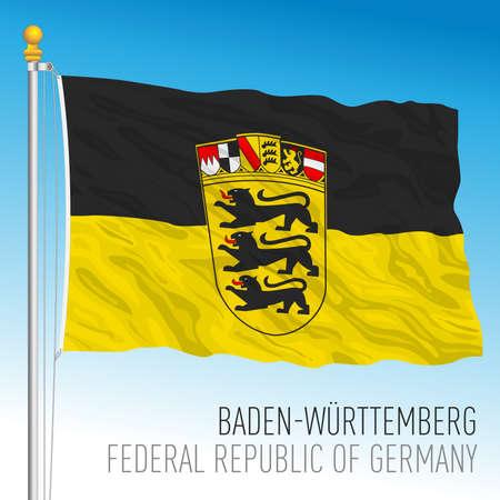 Baden Wurttenberg lander flag, federal state of Germany, europe, vector illustration Vettoriali