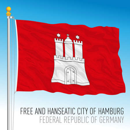 Hamburg city flag, federal state of Germany, europe, vector illustration Vettoriali