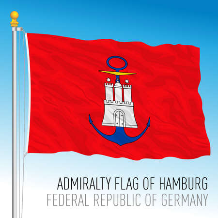 Admirality flag of Hamburg, federal state of Germany, europe, vector illustration Vettoriali
