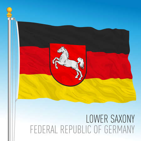 Lower Saxony lander flag, federal state of Germany, europe, vector illustration