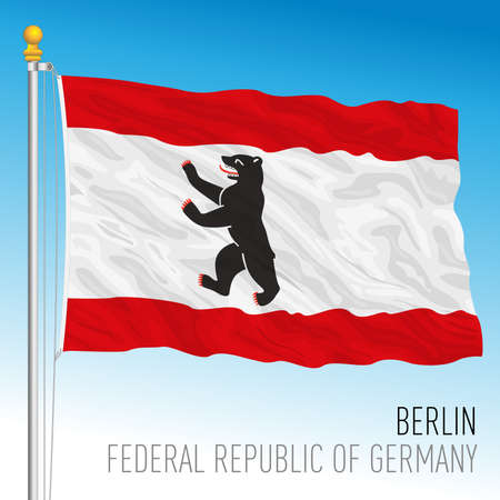 Berlin lander flag, federal state of Germany, europe, vector illustration